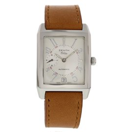 Zenith Elite 01.0250.684 Stainless Steel & Leather Automatic 31mm Mens Watch