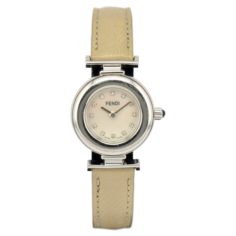 "Image of ""Fendi 320L Stainless Steel / Leather 12P Diamond White Shell 39mm"""