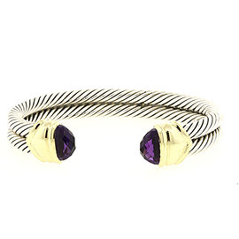 David Yurman 925 Sterling Silver with 14K Yellow Gold with Amethyst Double Row Cable Cuff Bracelet