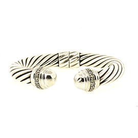 David Yurman 925 Sterling Silver and 18K White Gold with Diamond Domed Cable Cuff Bracelet