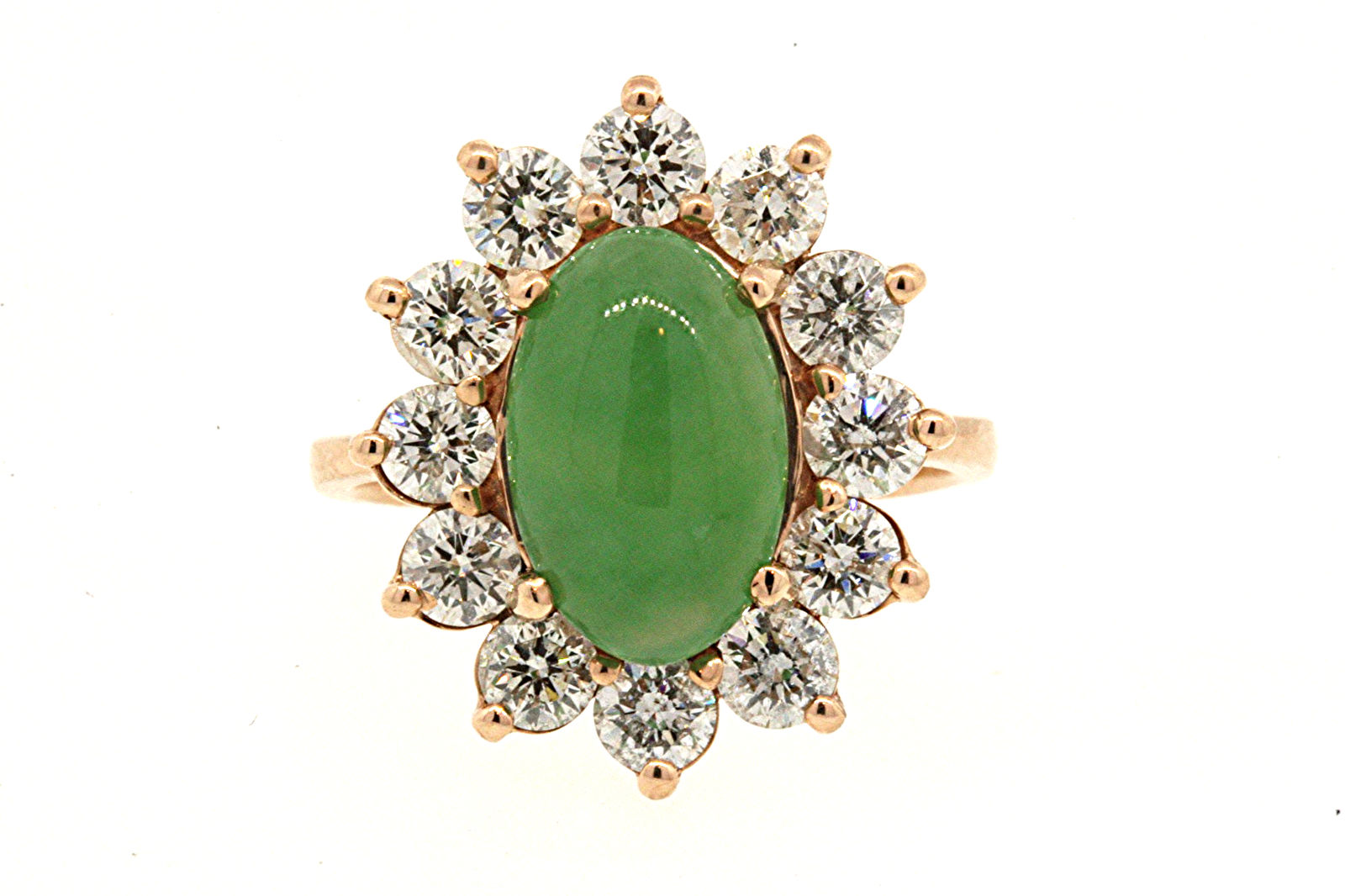 "Image of ""Effy 14K Rose Gold with Jade and 1.68ct Diamond Halo Band Ring Size"""