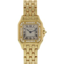 Cartier Panthere 1280 2 18K Yellow Gold With Diamonds 23mm Womens Watch