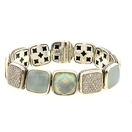 David Yurman 925 Sterling Silver with Diamond, White Agate, Blue Chalcedony and Mother of Pearl Bracelet