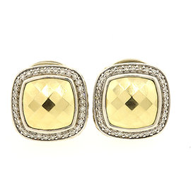 David Yurman 925 Sterling Silver with 18K Yellow Gold with Diamond Albion Dome Earrings
