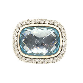 David Yurman 925 Sterling Silver with Diamond and Topaz Noblesse Band Ring Size 5.75