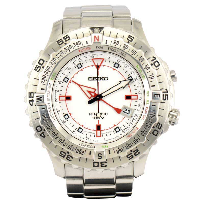 """Image of """"Seiko 5M62-0Ca0 Stainless Steel & White Dial 46mm Mens Watch"""""""
