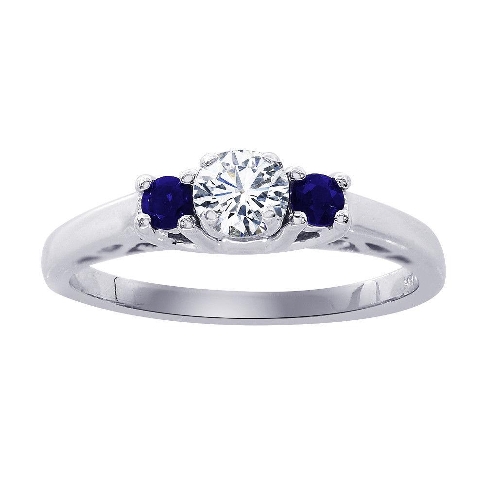 "Image of ""14K White Gold 0.18ct Round Diamond and 0.15ct Sapphire Engagement"""