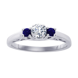 14K White Gold 0.18ct Round Diamond and 0.15ct Sapphire Engagement Ring Size 7