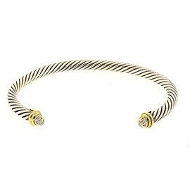 David Yurman 925 Sterling Silver & 18K Yellow Gold with Diamond Cable Cuff Petite Child Baby Bracelet