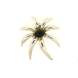 Tiffany & Co. Sterling Silver & 18K Yellow Gold Onyx Large Fireworks Pin Brooch