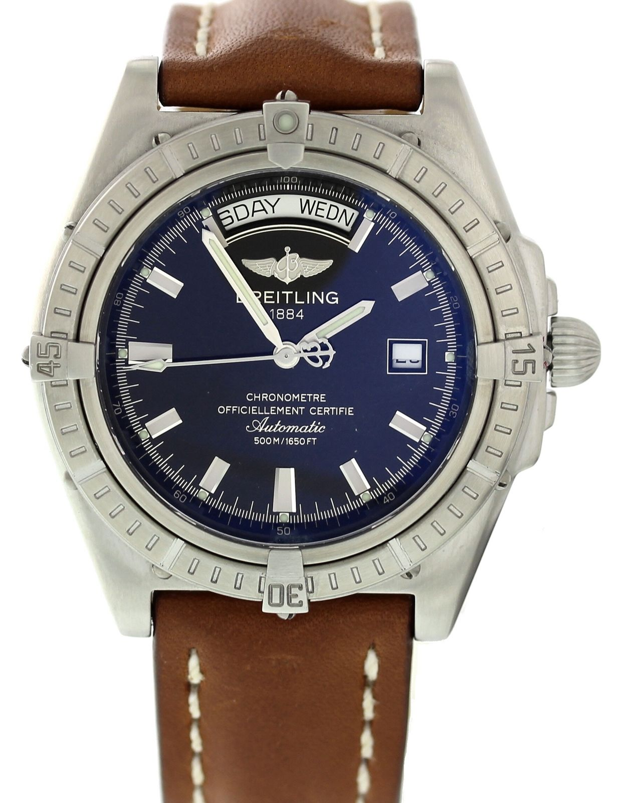 """Image of """"Breitling Windrider A45355 Stainless Steel & Leather Automatic 44mm"""""""