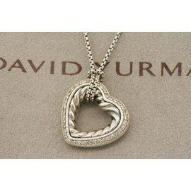 David Yurman 925 Sterling Silver with 0.29ct Diamond Classic Cable Heart Necklace Pendant