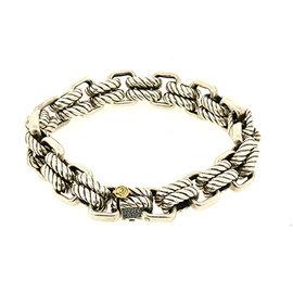 David Yurman 925 Sterling Silver & 18K Yellow Gold Heavy Cable Link Chain Bracelet