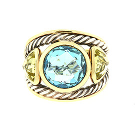 David Yurman 925 Sterling Silver & 18K Yellow Gold Blue Topaz & Peridot Renaissance Ring Size 6