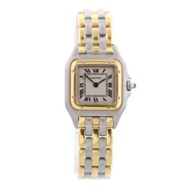 Cartier Panthere 168921 Three Row 18K Yellow Gold and Stainless Steel 22mm Womens Watch
