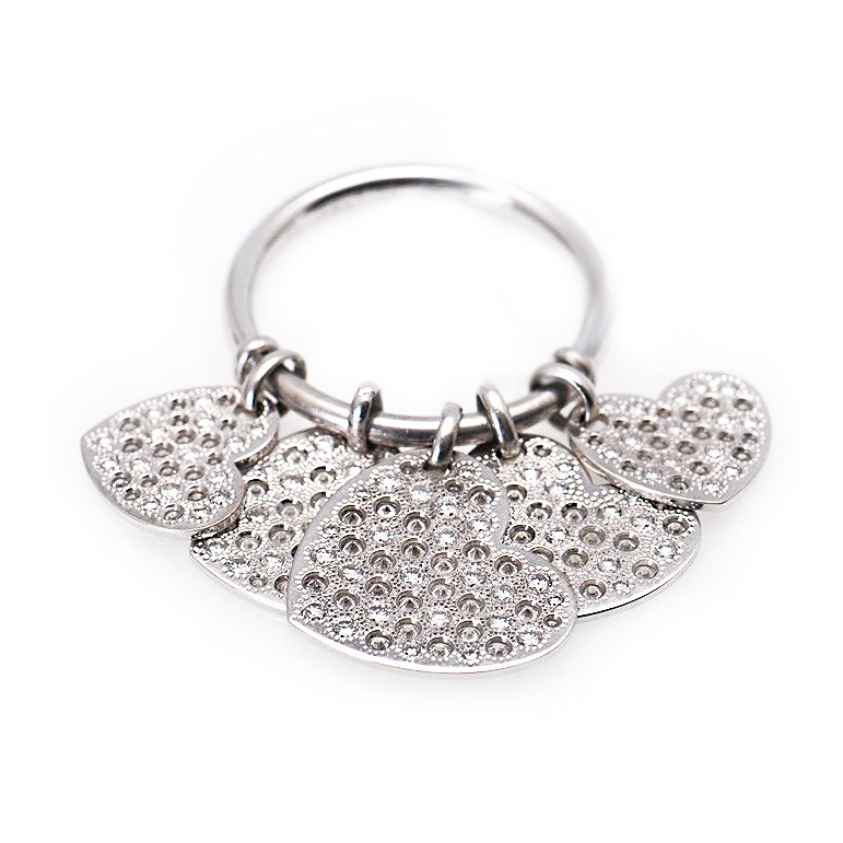 "Image of ""Dior 18K White Gold Diamond Hearts Dangle Ring"""