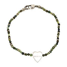 Gucci Sterling Silver & Green Tourmaline Heart Charm Bracelet