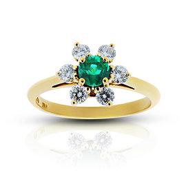 Tiffany & Co. 18K Yellow Gold 0.38ct Emerald Flower Diamond Ring Size 5