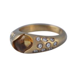Chaumet 18K Yellow Gold Orange Citrine Diamond Ring