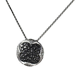 Salavetti 18K White Gold Black Diamond Pendant Necklace