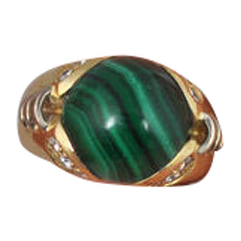 """Image of """"Lani Fratelli 18K Yellow Gold Malachite Diamond Ring"""""""
