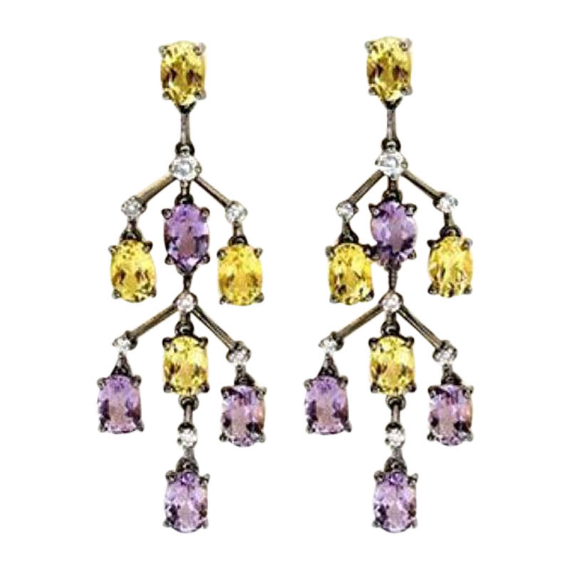 "Image of ""Laura Munder 18K Gold Amethyst Lemon Citrine Dangle Earrings"""