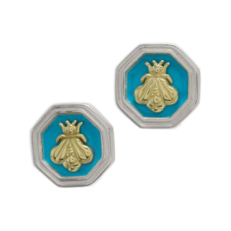 "Image of ""Slane & Slane Bee Sterling Silver Turquoise Enamel Earrings"""