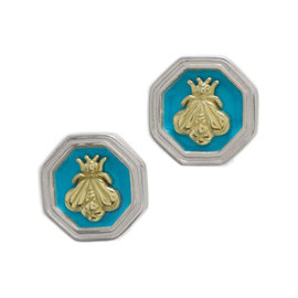 Slane & Slane Bee Sterling Silver Turquoise Enamel Earrings