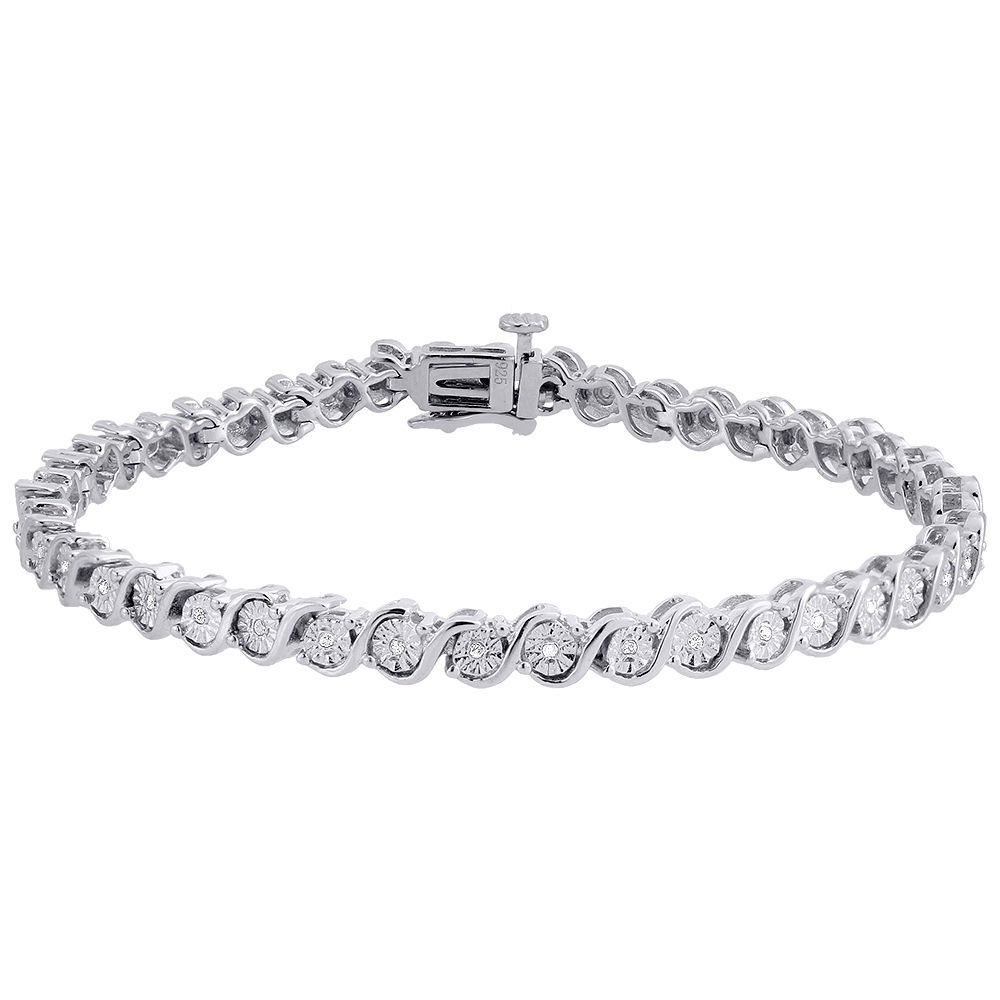 "Image of ""925 Sterling Silver 0.09ct Diamond S-Link Tennis Bracelet"""