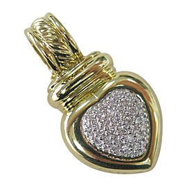 David Yurman 18K Yellow Gold Diamond Heart Enhancer Pendant