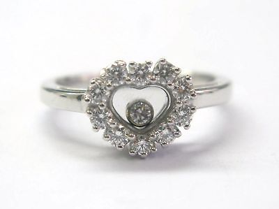 """Image of """"Chopard 18K White Gold Happy Diamond Heart Ring"""""""