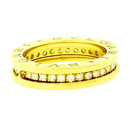 Bvlgari 18K Yellow Gold Diamond Eternity B Zero Ring Size 5.25