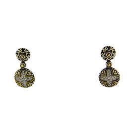 John Hardy 18K Gold & 925 Silver Diamond Earrings