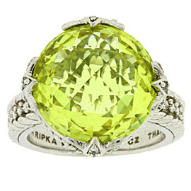 Judith Ripka Sterling Silver Canary Crystal & CZ Ring