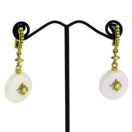 Judith Ripka 18K Yellow Gold Diamond Coin Pearl Earrings
