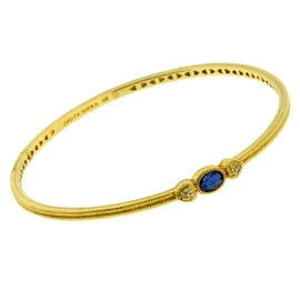 Judith Ripka 14K Yellow Gold Diamond & Blue Sapphire Bangle