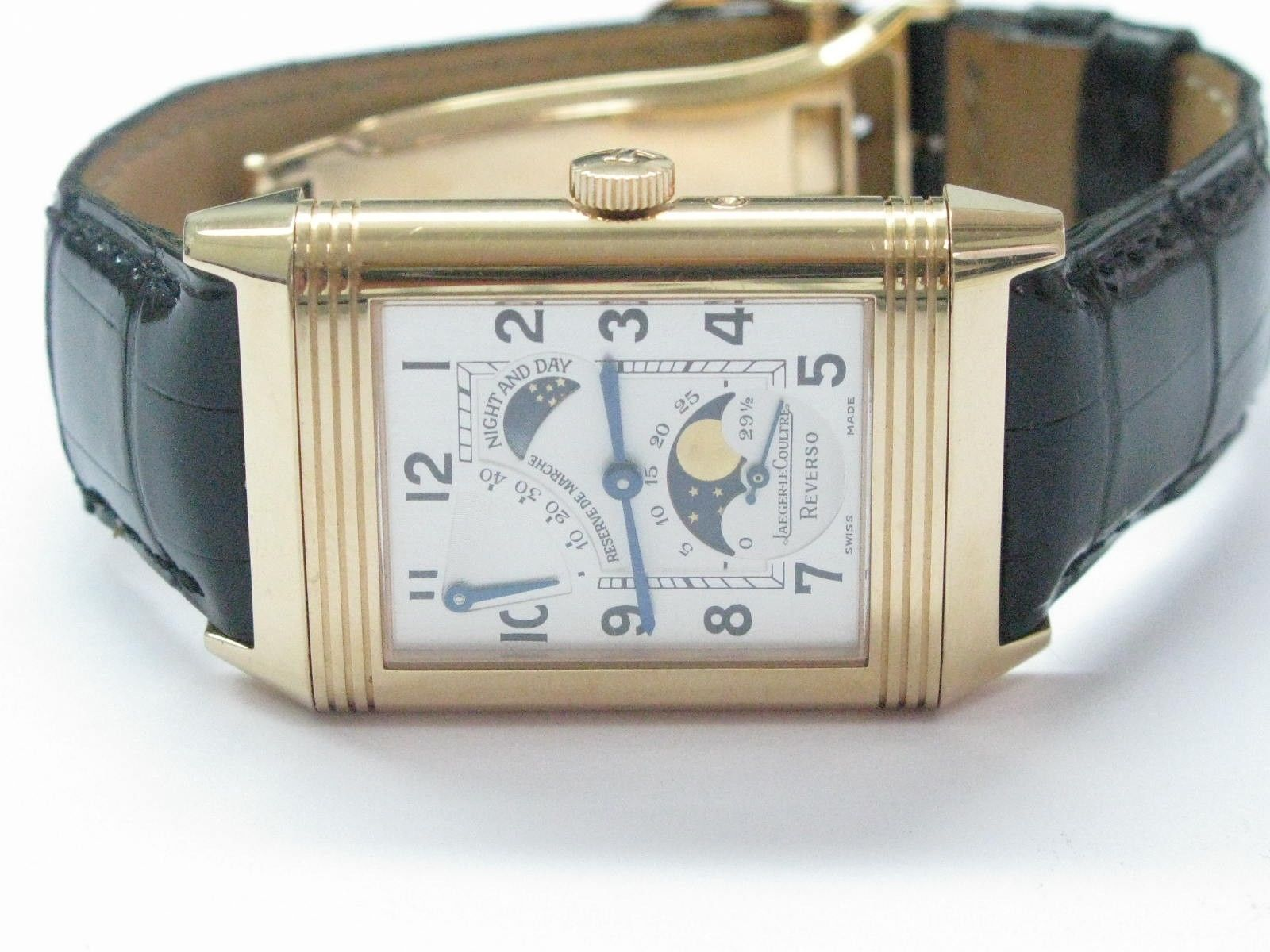"Image of ""Jaeger LeCoultre 18Kt Reverso Sun-Moon Rose Gold Watch"""