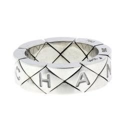 Chanel Matelasse 18K White Gold Ring