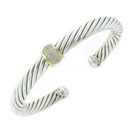 David Yurman Sterling Silver and Yellow Gold Diamond Bangle