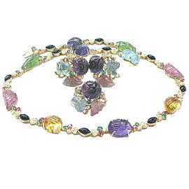 18Kt Multi Color Gemstone Tourmaline Carved Cabs Diamond Jewelry Set 103.4Ct