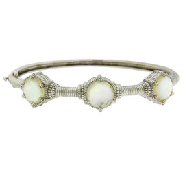 Judith Ripka Sterling Silver Double Sided Mother of Pearl Bangle