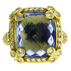 Judith Ripka 18K Yellow Gold Diamond & Blue Topaz Ring