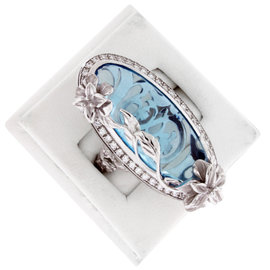 Carrera y Carrera Emperatriz Cascada Maxi 18K White Gold Blue Topaz Ring
