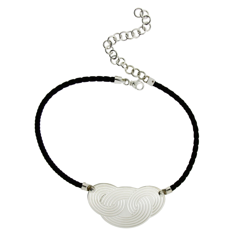 "Image of ""Enigma by Bulgari Sterling Silver Black Leather Necklace"""