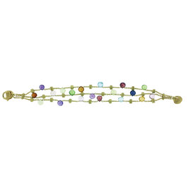 Marco Bicego Tabeez Cut Multicolored Stone 18K Yellow Gold Bracelet