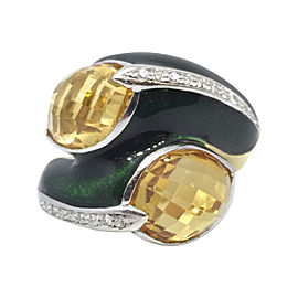 Fred of Paris 18K Yellow Gold Citrine & Diamond Crossover Enamel Wrap Ring Size 7.5