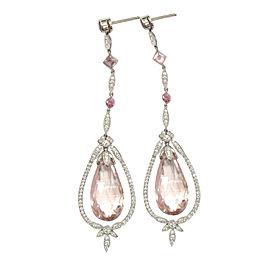 Tiffany & Co. Platinum Morganite Pink Tourmaline Diamond Drop Earrings