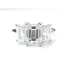Tiffany & Co Platinum 3-Stone Emerald Cut 4.10ct Diamond Ring