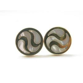 Bulgari 18K Yellow Gold Mother of Pearl Optical Stud Earrings
