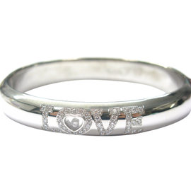 Chopard 18K White Gold Love Diamond Bangle Bracelet